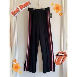 High waist pin strip bell bottom slit pants
